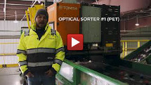 Container line featuring optical sorting